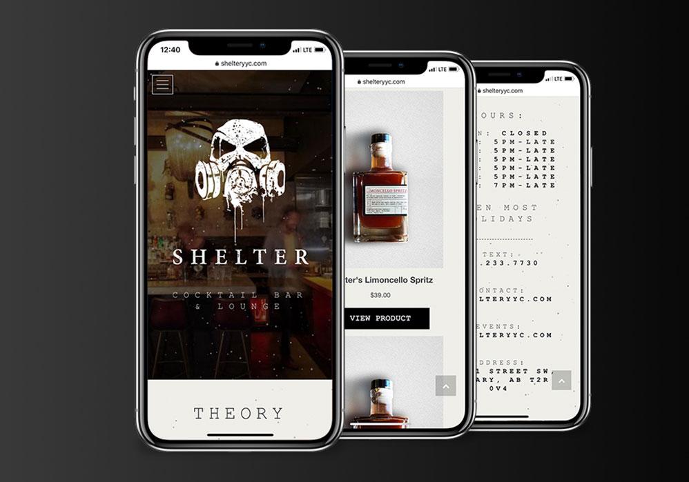 Shelter Cocktail Bar Web Design